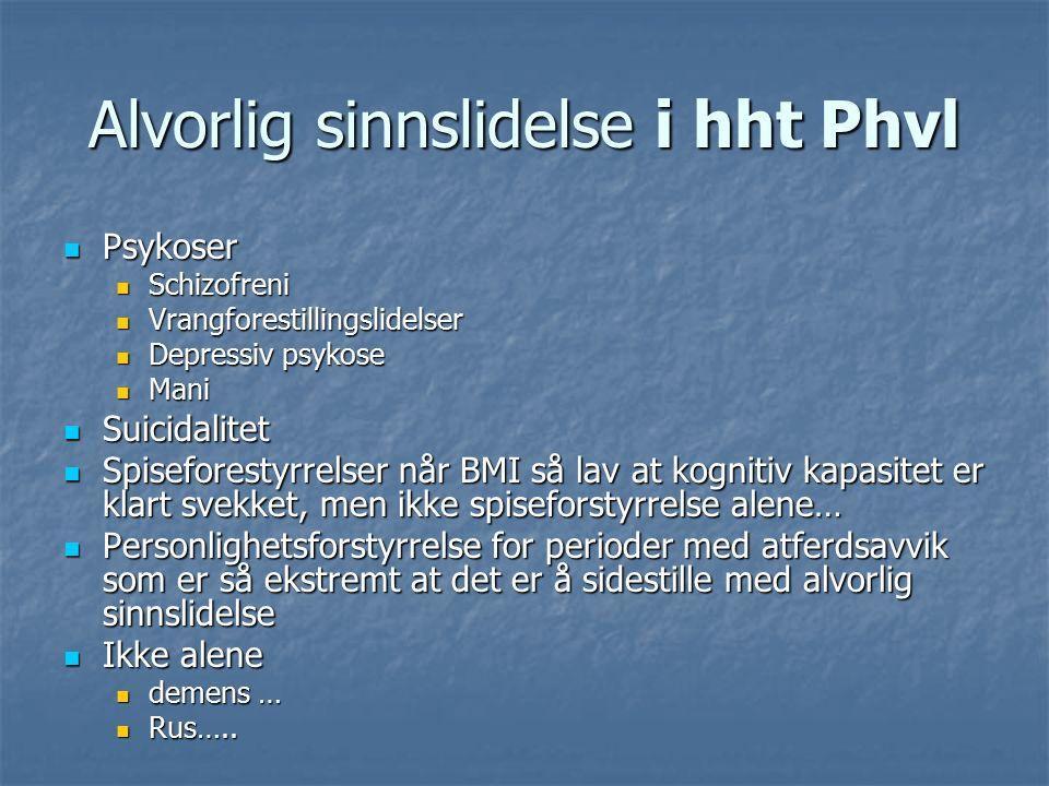 Alvorlig sinnslidelse i hht Phvl Psykoser Psykoser Schizofreni Schizofreni Vrangforestillingslidelser Vrangforestillingslidelser Depressiv psykose Depressiv psykose Mani Mani Suicidalitet Suicidalitet Spiseforestyrrelser når BMI så lav at kognitiv kapasitet er klart svekket, men ikke spiseforstyrrelse alene… Spiseforestyrrelser når BMI så lav at kognitiv kapasitet er klart svekket, men ikke spiseforstyrrelse alene… Personlighetsforstyrrelse for perioder med atferdsavvik som er så ekstremt at det er å sidestille med alvorlig sinnslidelse Personlighetsforstyrrelse for perioder med atferdsavvik som er så ekstremt at det er å sidestille med alvorlig sinnslidelse Ikke alene Ikke alene demens … demens … Rus…..