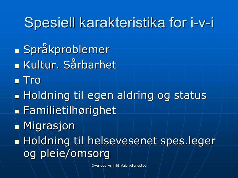 Spesiell karakteristika for i-v-i Språkproblemer Språkproblemer Kultur.