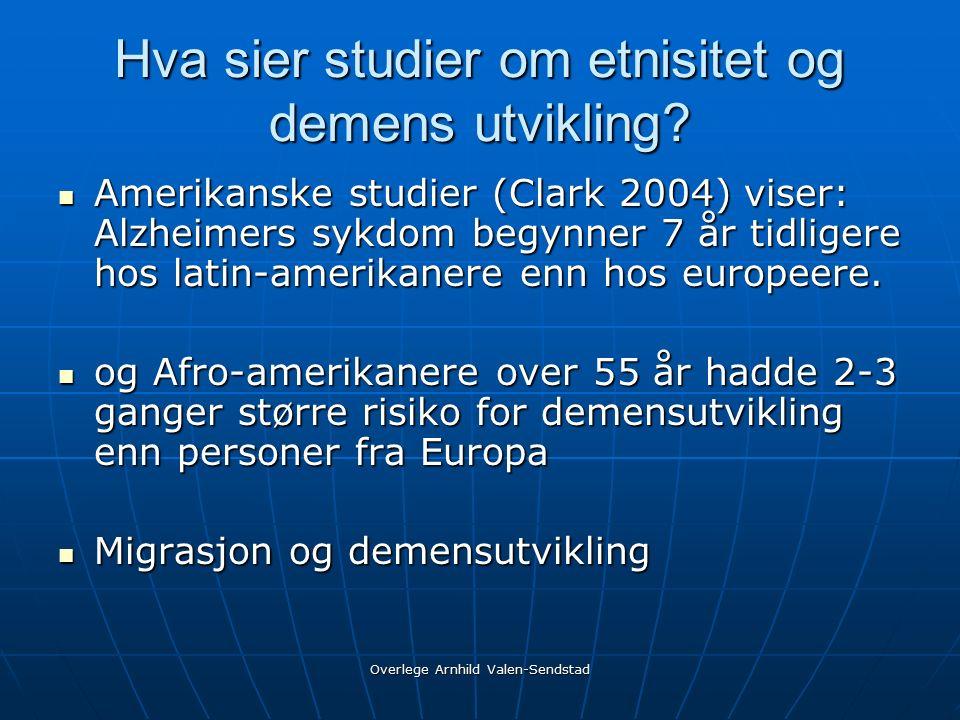 Hva sier studier om etnisitet og demens utvikling.