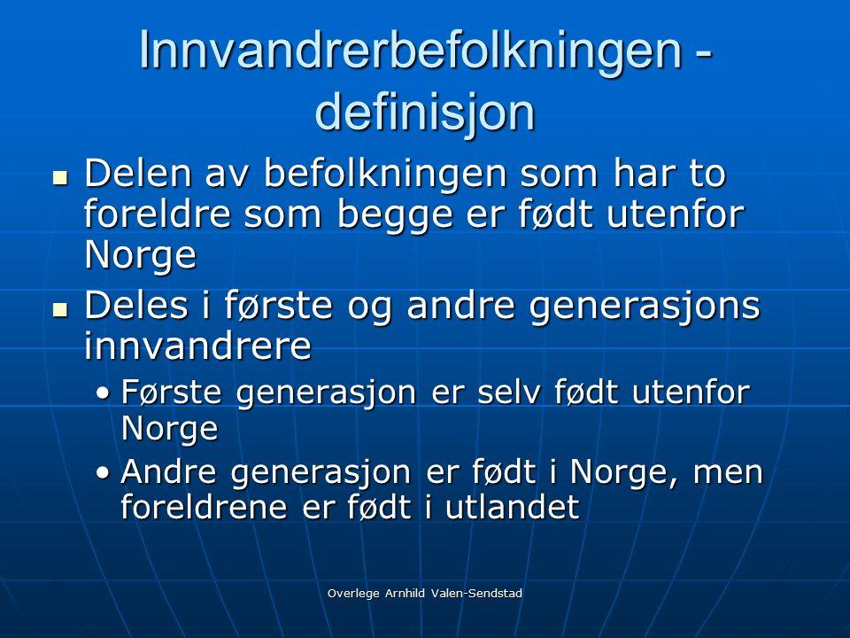 Overlege Arnhild Valen-Sendstad Innvandrerbefolkningen - definisjon Delen av befolkningen som har to foreldre som begge er født utenfor Norge Delen av befolkningen som har to foreldre som begge er født utenfor Norge Deles i første og andre generasjons innvandrere Deles i første og andre generasjons innvandrere Første generasjon er selv født utenfor NorgeFørste generasjon er selv født utenfor Norge Andre generasjon er født i Norge, men foreldrene er født i utlandetAndre generasjon er født i Norge, men foreldrene er født i utlandet