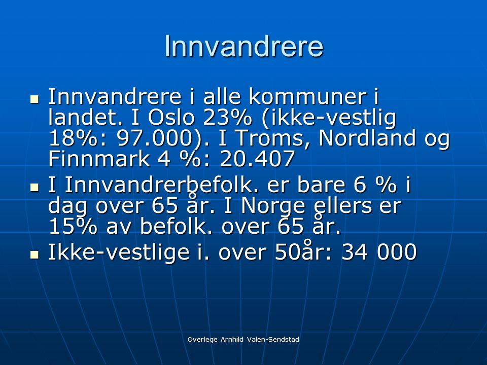 Innvandrere Innvandrere i alle kommuner i landet.I Oslo 23% (ikke-vestlig 18%: 97.000).