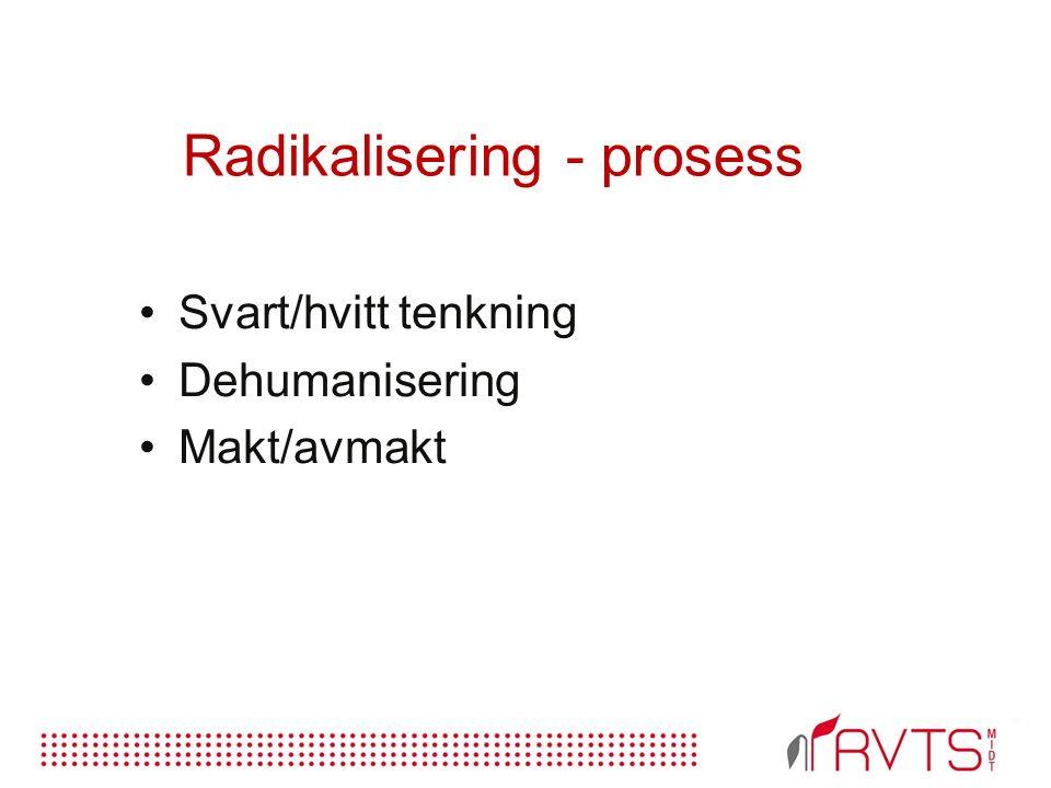 Radikalisering - prosess Svart/hvitt tenkning Dehumanisering Makt/avmakt
