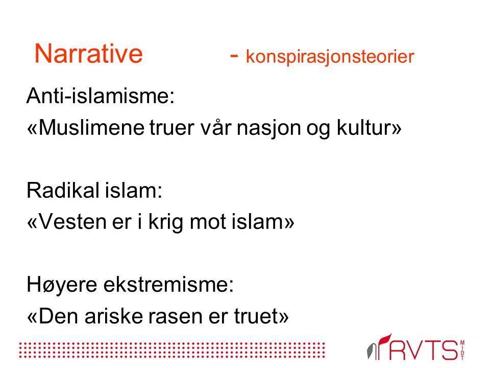 Narrative - konspirasjonsteorier Anti-islamisme: «Muslimene truer vår nasjon og kultur» Radikal islam: «Vesten er i krig mot islam» Høyere ekstremisme: «Den ariske rasen er truet»