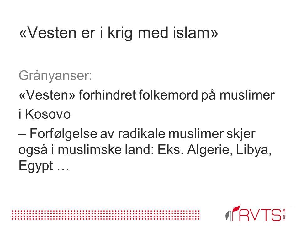 «Vesten er i krig med islam» Grånyanser: «Vesten» forhindret folkemord på muslimer i Kosovo – Forfølgelse av radikale muslimer skjer også i muslimske land: Eks.