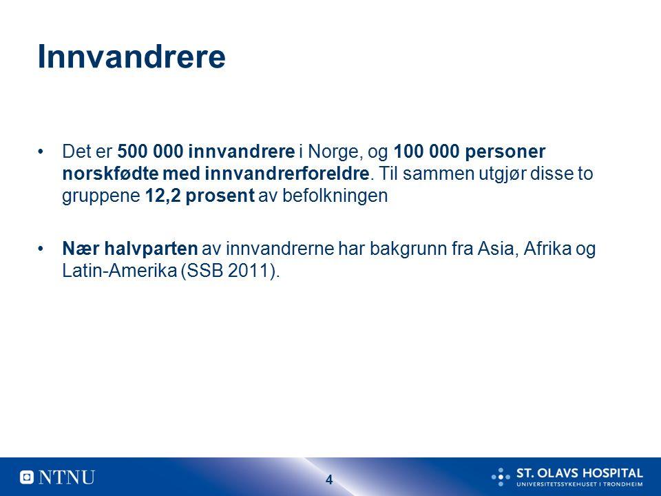 4 Innvandrere Det er 500 000 innvandrere i Norge, og 100 000 personer norskfødte med innvandrerforeldre.