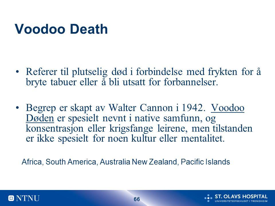 66 Voodoo Death Referer til plutselig død i forbindelse med frykten for å bryte tabuer eller å bli utsatt for forbannelser.