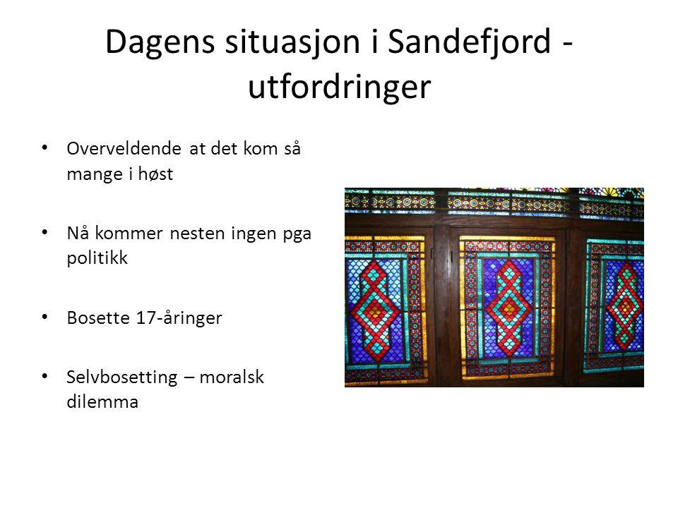 Dagens situasjon i Sandefjord - utfordringer Overveldende at det kom så mange i høst Nå kommer nesten ingen pga politikk Bosette 17-åringer Selvbosetting – moralsk dilemma