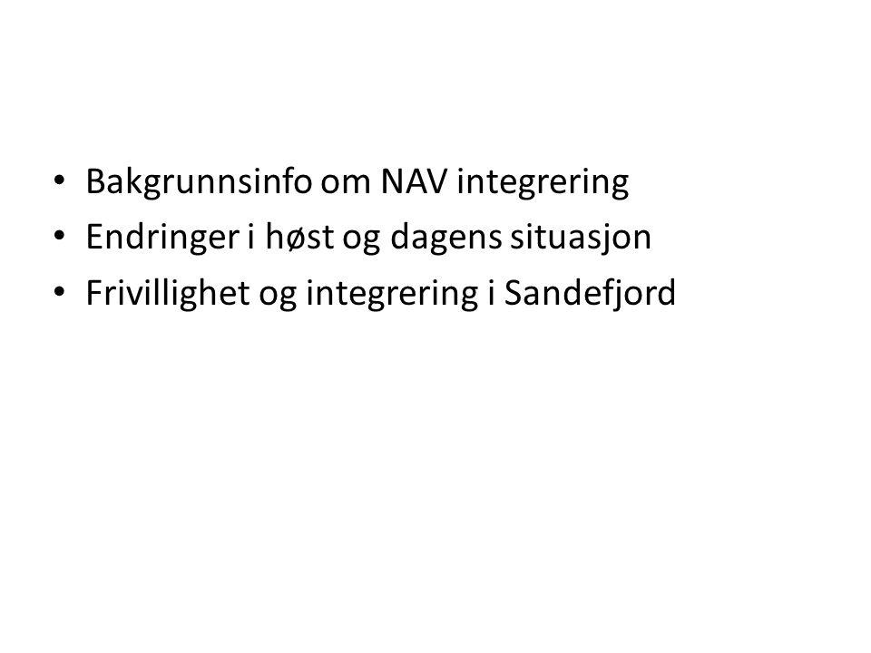 Bakgrunnsinfo om NAV integrering Endringer i høst og dagens situasjon Frivillighet og integrering i Sandefjord