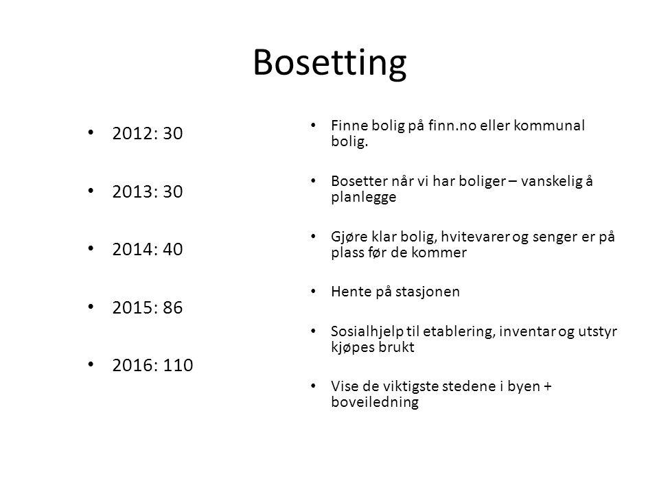 Bosetting 2012: 30 2013: 30 2014: 40 2015: 86 2016: 110 Finne bolig på finn.no eller kommunal bolig. Bosetter når vi har boliger – vanskelig å planleg