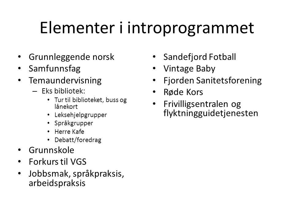 Elementer i introprogrammet Grunnleggende norsk Samfunnsfag Temaundervisning – Eks bibliotek: Tur til biblioteket, buss og lånekort Leksehjelpgrupper