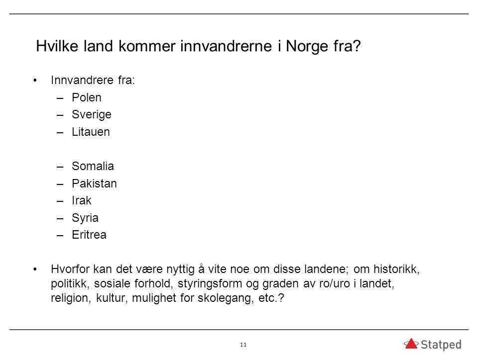Hvilke land kommer innvandrerne i Norge fra.
