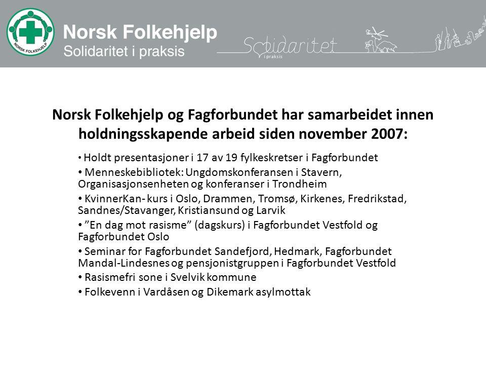 Norsk Folkehjelp og Fagforbundet har samarbeidet innen holdningsskapende arbeid siden november 2007: Holdt presentasjoner i 17 av 19 fylkeskretser i F