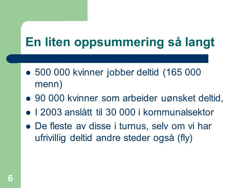 6 En liten oppsummering så langt 500 000 kvinner jobber deltid (165 000 menn) 90 000 kvinner som arbeider uønsket deltid, I 2003 anslått til 30 000 i