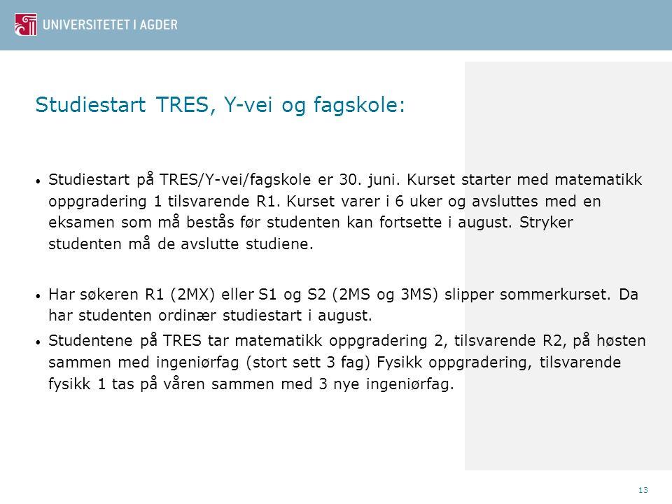 13 Studiestart på TRES/Y-vei/fagskole er 30. juni.