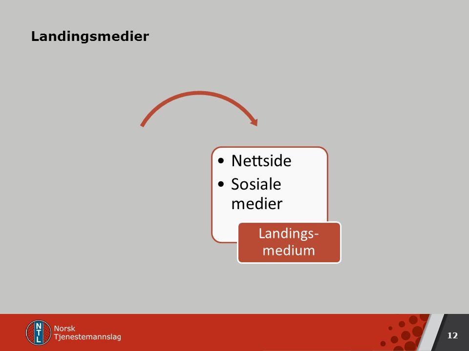 Landingsmedier 12 Nettside Sosiale medier Landings- medium