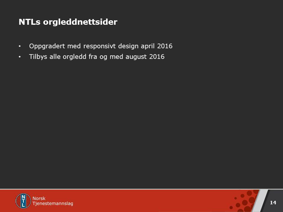 NTLs orgleddnettsider Oppgradert med responsivt design april 2016 Tilbys alle orgledd fra og med august 2016 14