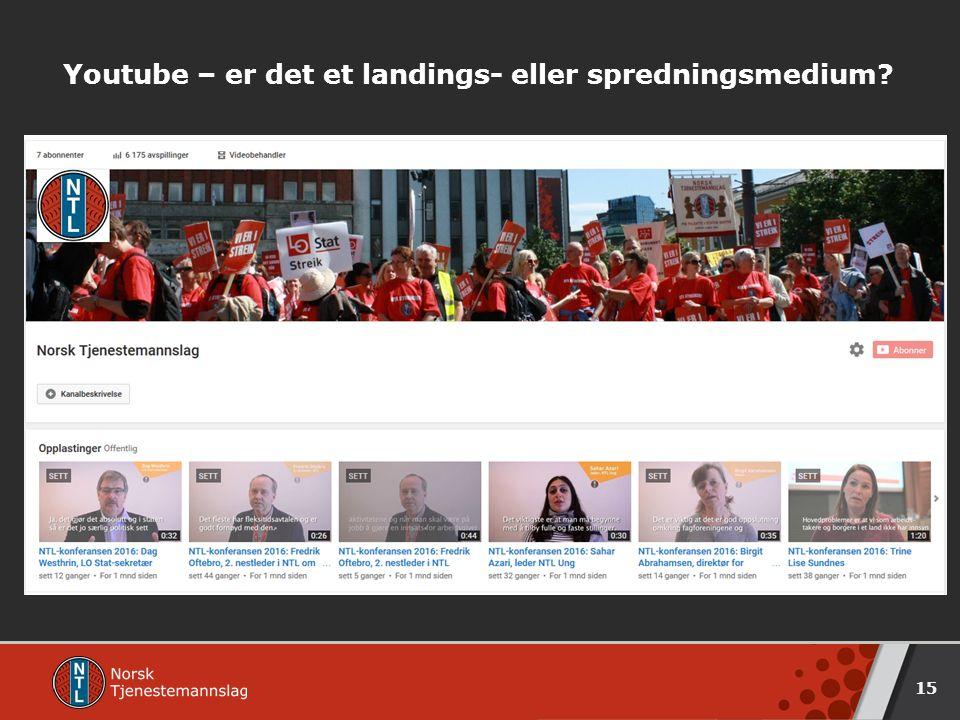 Youtube – er det et landings- eller spredningsmedium? 15