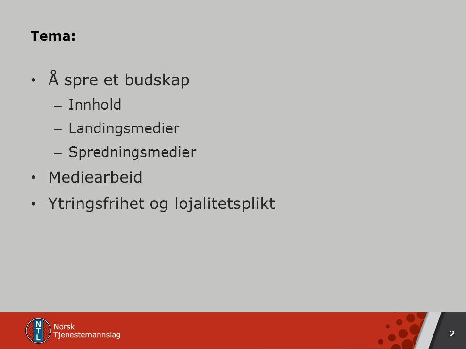 Tema: Å spre et budskap – Innhold – Landingsmedier – Spredningsmedier Mediearbeid Ytringsfrihet og lojalitetsplikt 2