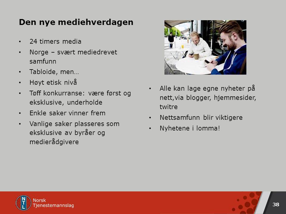 24 timers media Norge – svært mediedrevet samfunn Tabloide, men… Høyt etisk nivå Tøff konkurranse: være først og eksklusive, underholde Enkle saker vinner frem Vanlige saker plasseres som eksklusive av byråer og medierådgivere Den nye mediehverdagen Alle kan lage egne nyheter på nett,via blogger, hjemmesider, twitre Nettsamfunn blir viktigere Nyhetene i lomma.