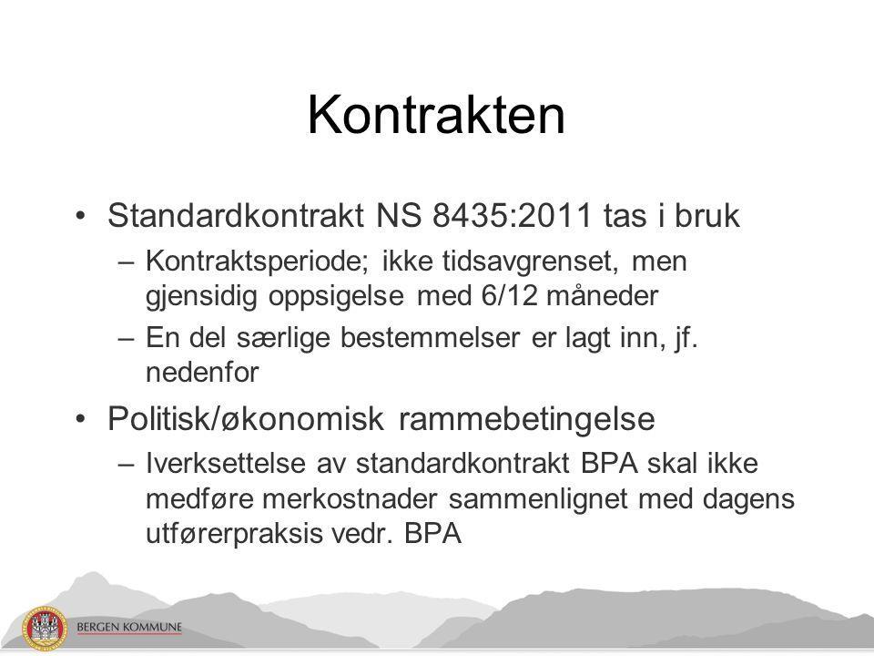 Kontrakten Standardkontrakt NS 8435:2011 tas i bruk –Kontraktsperiode; ikke tidsavgrenset, men gjensidig oppsigelse med 6/12 måneder –En del særlige bestemmelser er lagt inn, jf.