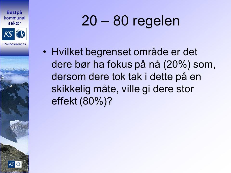 Best på kommunal sektor KS-Konsulent as 20 – 80 regelen Hvilket begrenset område er det dere bør ha fokus på nå (20%) som, dersom dere tok tak i dette på en skikkelig måte, ville gi dere stor effekt (80%)