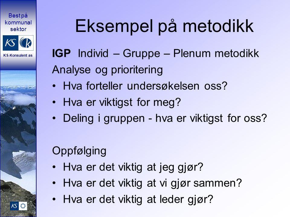 Best på kommunal sektor KS-Konsulent as Eksempel på metodikk IGP Individ – Gruppe – Plenum metodikk Analyse og prioritering Hva forteller undersøkelsen oss.