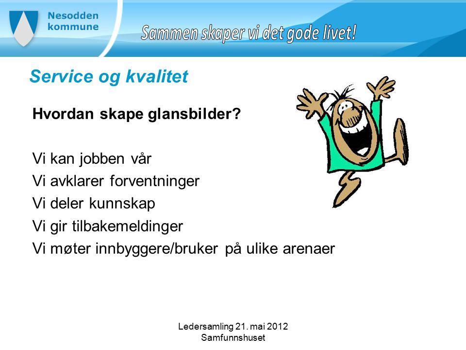 Ledersamling 21. mai 2012 Samfunnshuset Service og kvalitet Hvordan skape glansbilder.