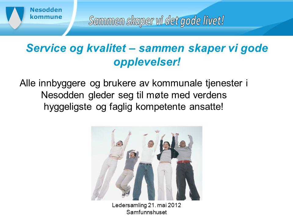 Ledersamling 21. mai 2012 Samfunnshuset Service og kvalitet – sammen skaper vi gode opplevelser.