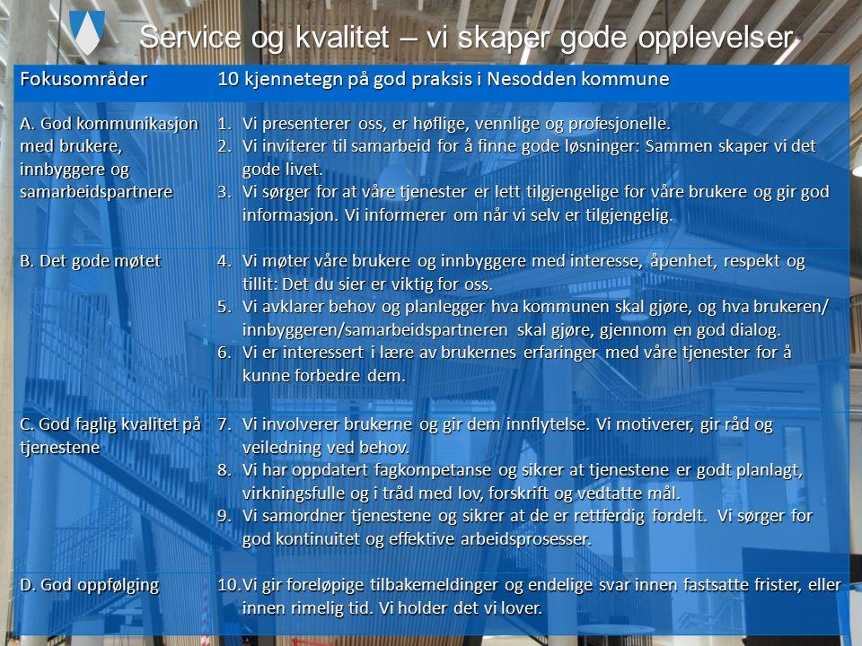Service og kvalitet – vi skaper gode opplevelser Fokusområder 10 kjennetegn på god praksis i Nesodden kommune A.