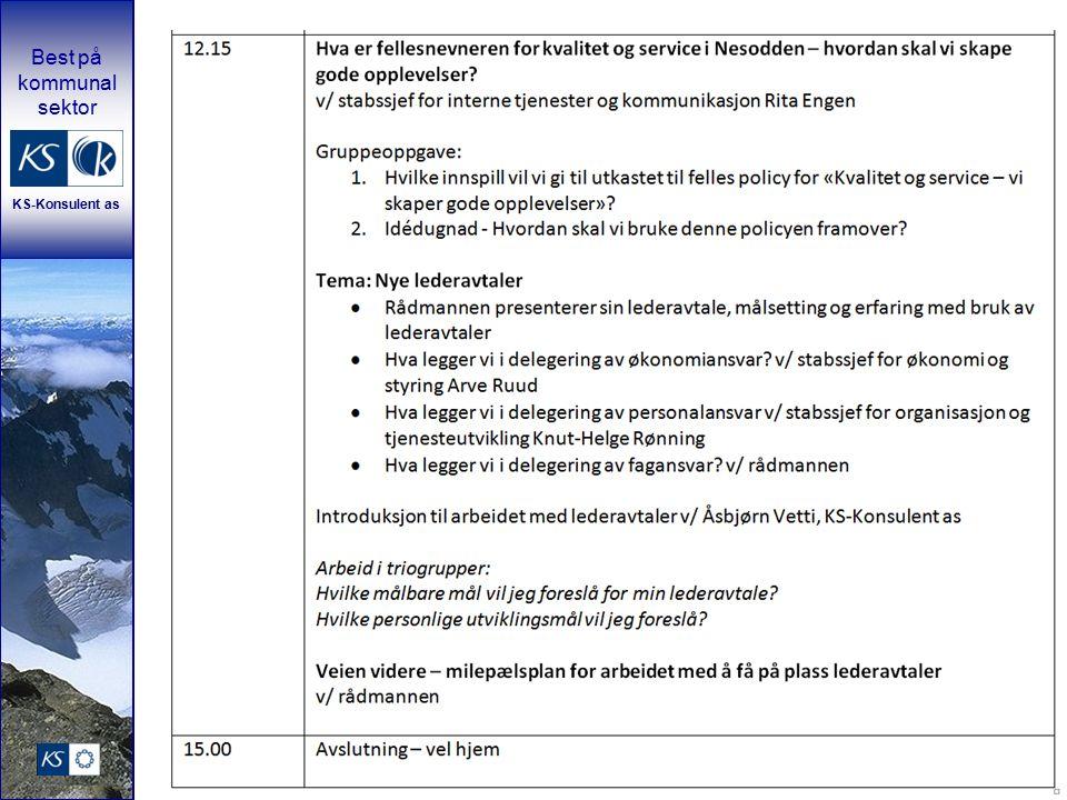 Best på kommunal sektor KS-Konsulent as Veien videre – milepælsplan for arbeidet med å få på plass lederavtaler v/ rådmannen