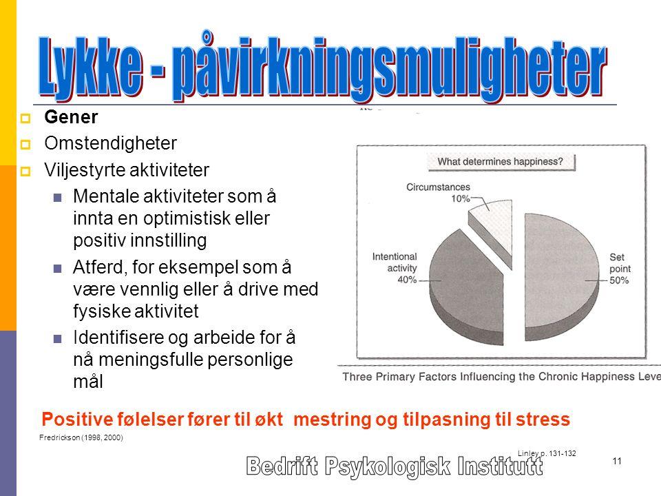 11  Gener  Omstendigheter  Viljestyrte aktiviteter Mentale aktiviteter som å innta en optimistisk eller positiv innstilling Atferd, for eksempel som å være vennlig eller å drive med fysiske aktivitet Identifisere og arbeide for å nå meningsfulle personlige mål Linley p.