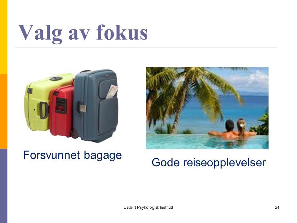 Valg av fokus Bedrift Psykologisk Institutt24 Forsvunnet bagage Gode reiseopplevelser