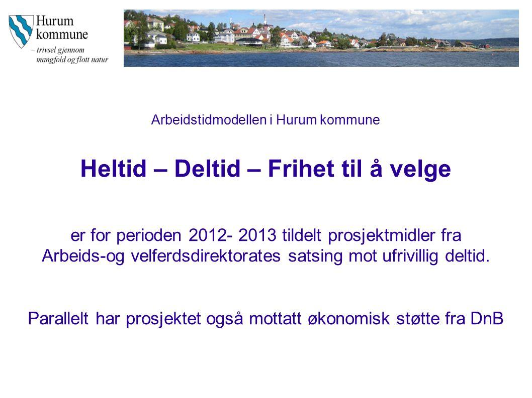 Arbeidstidmodellen i Hurum kommune Heltid – Deltid – Frihet til å velge er for perioden 2012- 2013 tildelt prosjektmidler fra Arbeids-og velferdsdirektorates satsing mot ufrivillig deltid.
