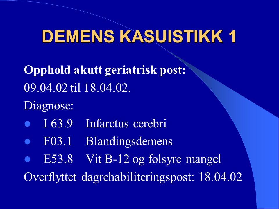 DEMENS KASUISTIKK 1 Opphold akutt geriatrisk post: 09.04.02 til 18.04.02.