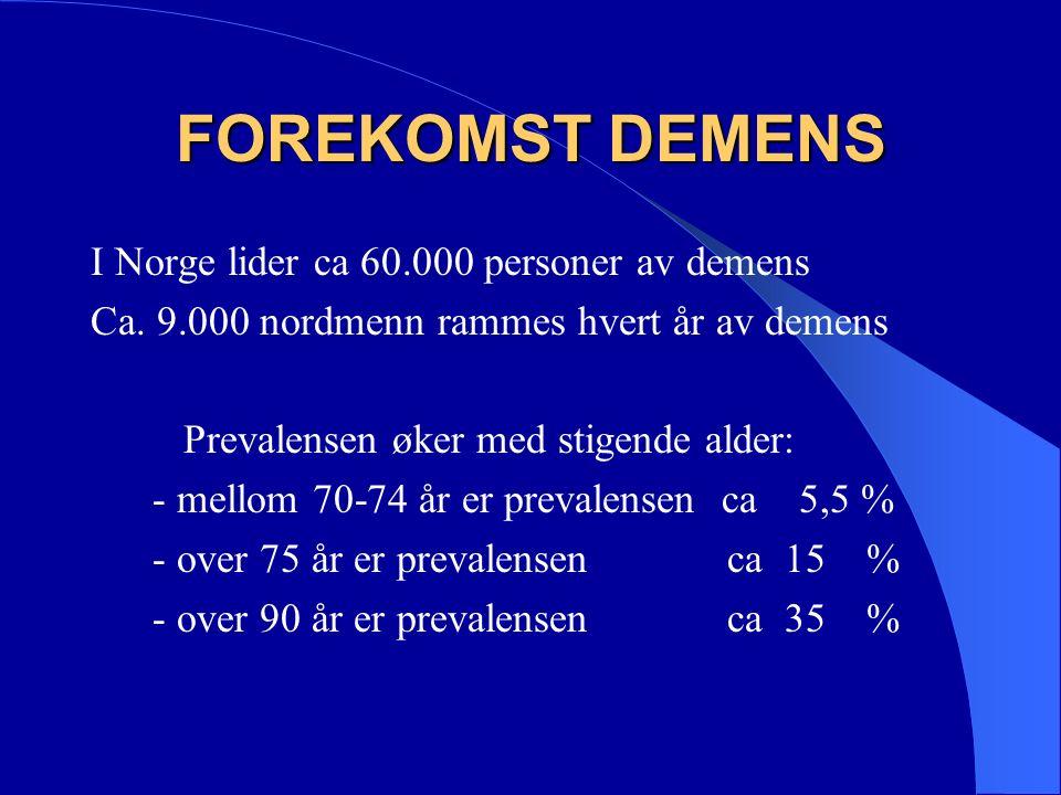 DEMENS SYNDROMET Depresjon Delir Drugs Demens er ikke alltid demens !