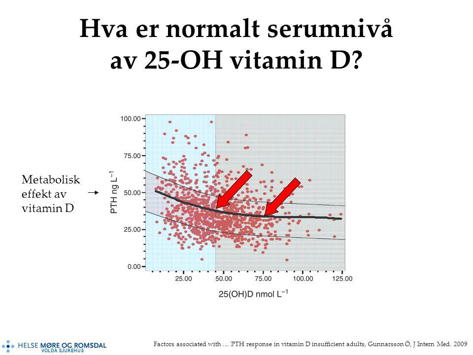 VOLDA SJUKEHUS Hva er normalt serumnivå av 25-OH vitamin D.
