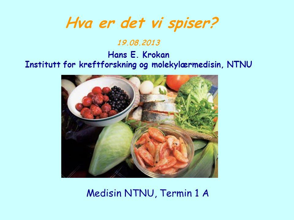Hva er det vi spiser? 19.08.2013 Hans E. Krokan Institutt for kreftforskning og molekylærmedisin, NTNU Medisin NTNU, Termin 1 A