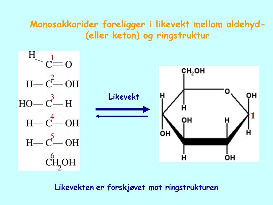 Likevekt Likevekten er forskjøvet mot ringstrukturen 1 Monosakkarider foreligger i likevekt mellom aldehyd- (eller keton) og ringstruktur