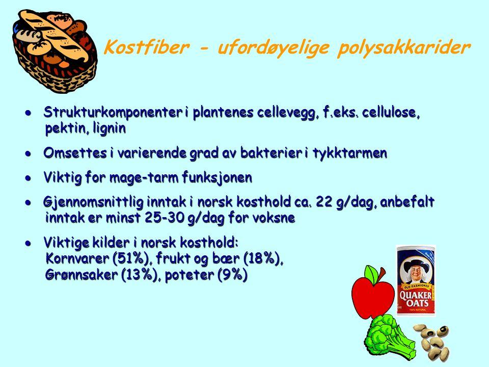 Kostfiber - ufordøyelige polysakkarider  Strukturkomponenter i plantenes cellevegg, f.eks. cellulose, pektin, lignin pektin, lignin  Omsettes i vari