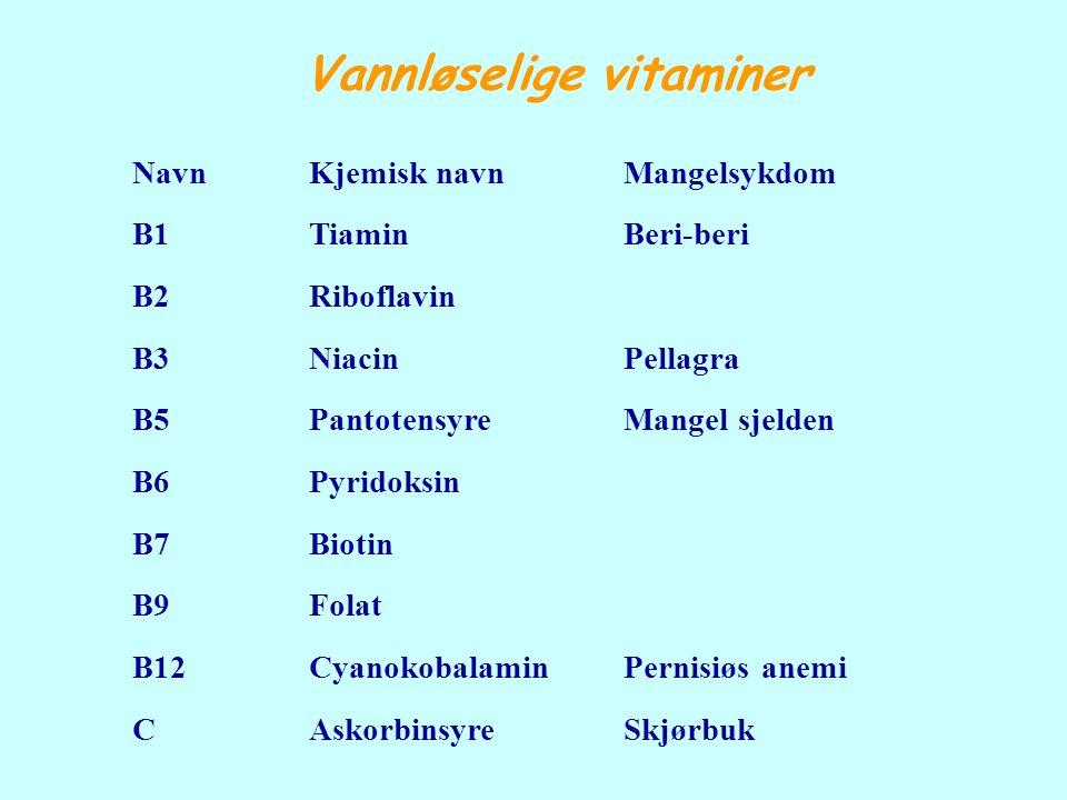 Vannløselige vitaminer NavnKjemisknavnMangelsykdom B1TiaminBeri-beri B2Riboflavin B3NiacinPellagra B5PantotensyreMangelsjelden B6Pyridoksin B7Biotin B