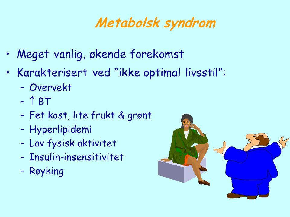 """Meget vanlig, økende forekomst Karakterisert ved """"ikke optimal livsstil"""": –Overvekt –  BT –Fet kost, lite frukt & grønt –Hyperlipidemi –Lav fysisk ak"""