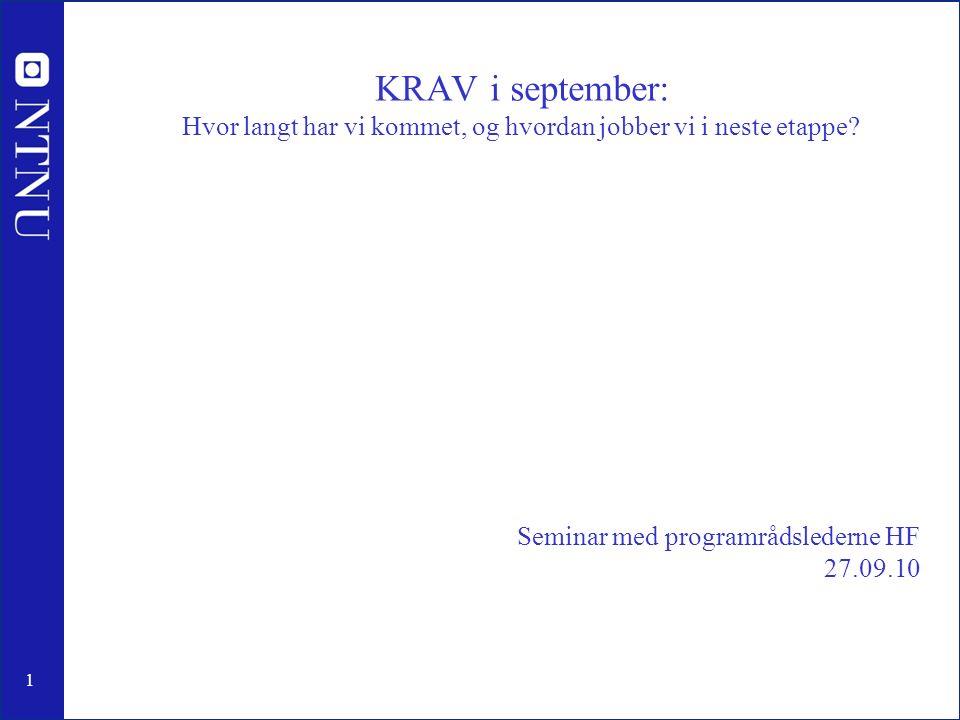 1 Seminar med programrådslederne HF 27.09.10 KRAV i september: Hvor langt har vi kommet, og hvordan jobber vi i neste etappe