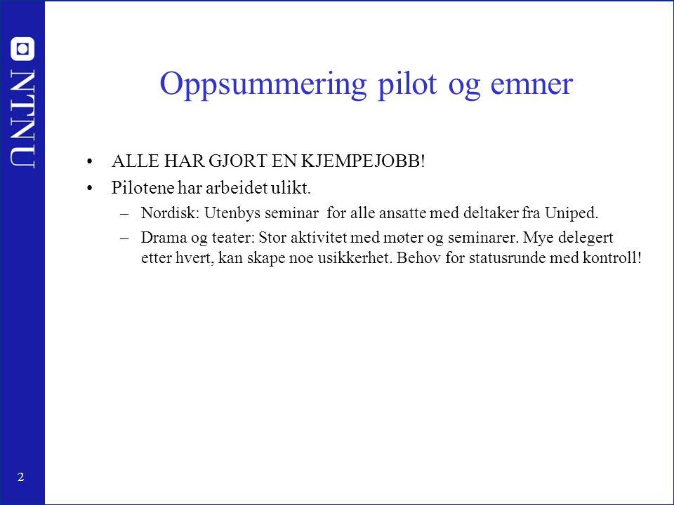 2 Oppsummering pilot og emner ALLE HAR GJORT EN KJEMPEJOBB.