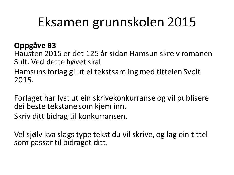 Eksamen grunnskolen 2015 Oppgåve B3 Hausten 2015 er det 125 år sidan Hamsun skreiv romanen Sult.