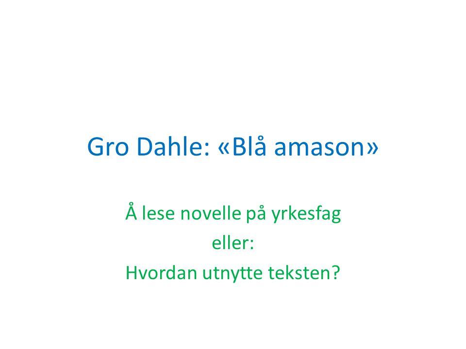 Gro Dahle: «Blå amason» Å lese novelle på yrkesfag eller: Hvordan utnytte teksten?
