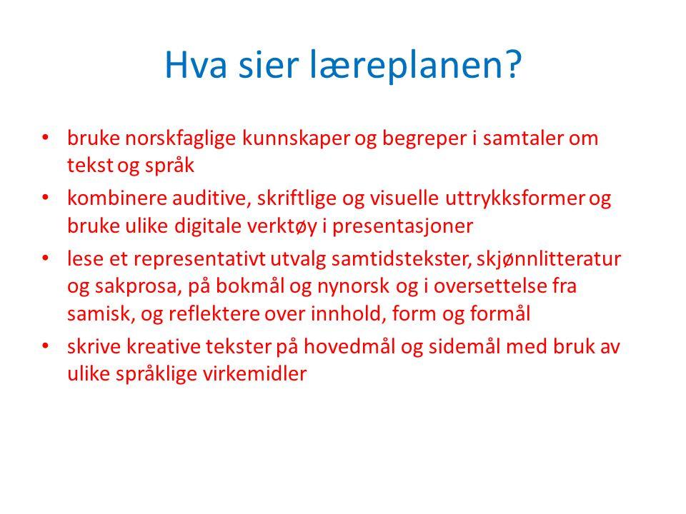 Hva sier læreplanen? bruke norskfaglige kunnskaper og begreper i samtaler om tekst og språk kombinere auditive, skriftlige og visuelle uttrykksformer