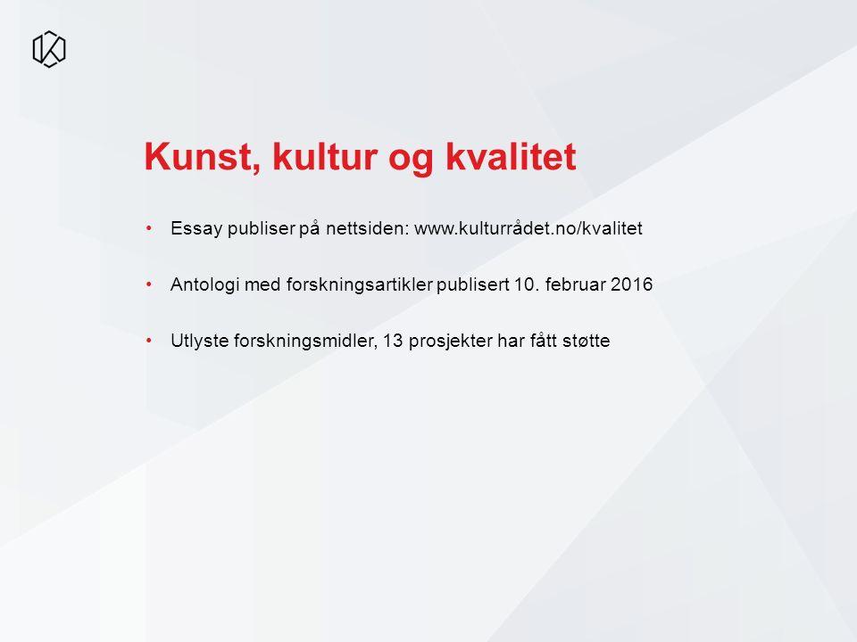 Kunst, kultur og kvalitet Essay publiser på nettsiden: www.kulturrådet.no/kvalitet Antologi med forskningsartikler publisert 10. februar 2016 Utlyste