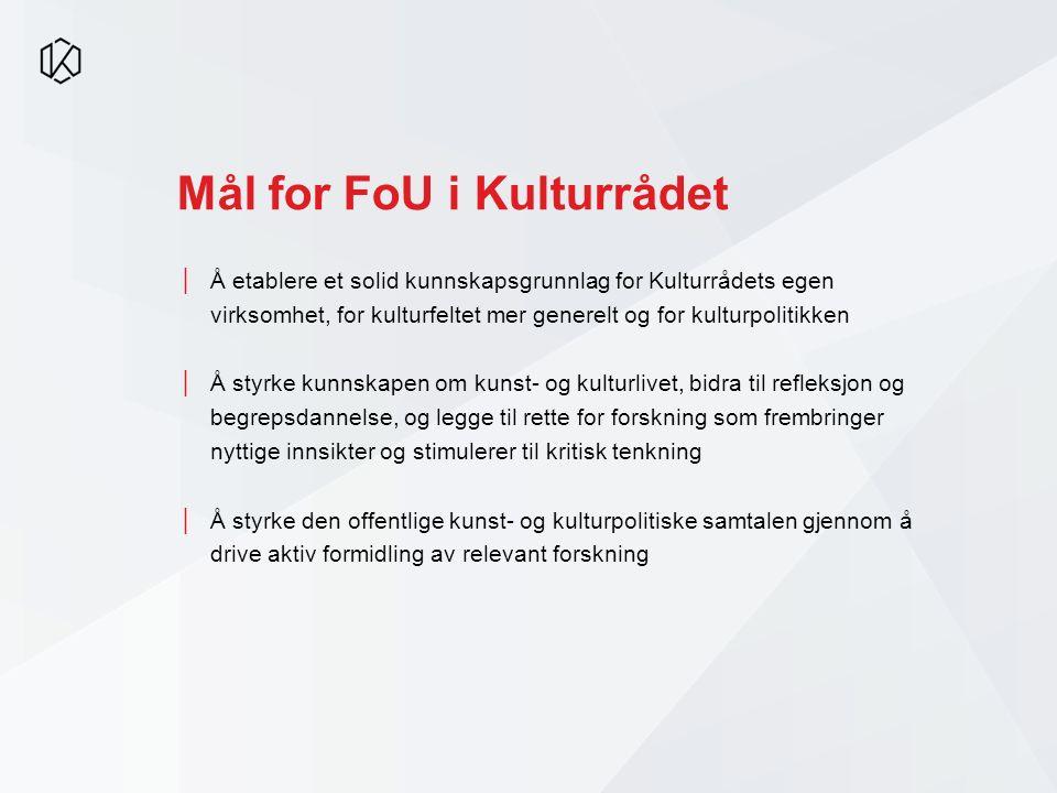 Mål for FoU i Kulturrådet │Å etablere et solid kunnskapsgrunnlag for Kulturrådets egen virksomhet, for kulturfeltet mer generelt og for kulturpolitikk