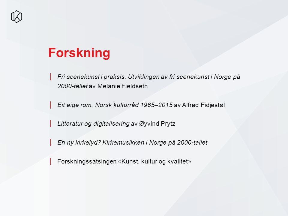 Forskning │Fri scenekunst i praksis. Utviklingen av fri scenekunst i Norge på 2000-tallet av Melanie Fieldseth │Eit eige rom. Norsk kulturråd 1965–201