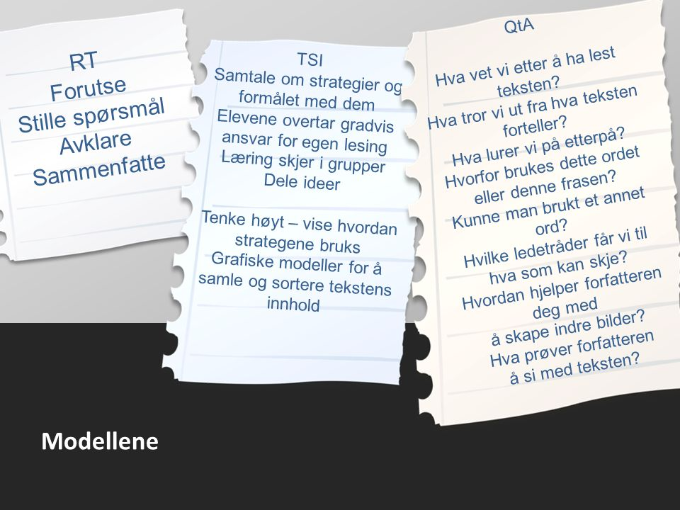 Modellene RT Forutse Stille spørsmål Avklare Sammenfatte TSI Samtale om strategier og formålet med dem Elevene overtar gradvis ansvar for egen lesing Læring skjer i grupper Dele ideer Tenke høyt – vise hvordan strategene bruks Grafiske modeller for å samle og sortere tekstens innhold QtA Hva vet vi etter å ha lest teksten.